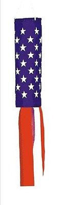 "Patriotic Red White & Blue 60"" Windsock Beach Coastal Nautical"