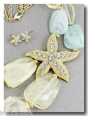 Green & Ivory color Stones with Gold Plated Starfish Pendant & Matching Earrings