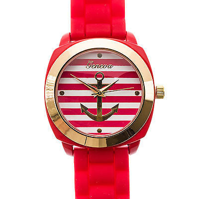 Women's Watch Stripe Anchor Quartz PU Band Tropical Pink or Tan or Red