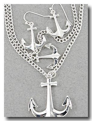 Nautical Silver Toned Long Double Anchor Necklace for Beach Boating & Everyday