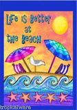 Life At The Beach Toon Art  28 X 40 Colorful Flag Made in USA
