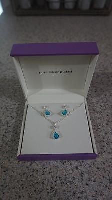 Clear & Blue Cubic Zirconia and Crystal Necklace & Drop Earrings Set - US Seller