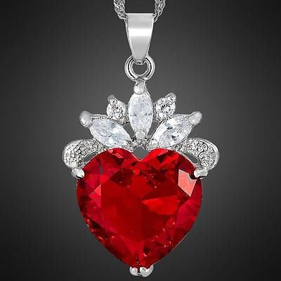 Heart Cut Red Ruby Pendant Necklace with Diamond Crystals Comes Gift Boxed