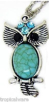 Turquoise Owl Rhinestone Crystal Necklace Fun and Trendy Ships within 24 hrs
