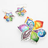 Colorful Swirl Flower Pendant & Earring Set