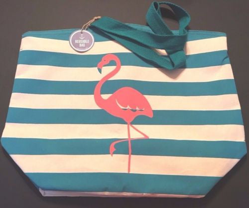 XLG Flamingo Beach Tote bag Sturdy with a Tropical Beach, Coastal Style