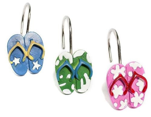 Flip Flops Beach Shower Hooks * Unique * Colorful * 12Pk * New in the Box