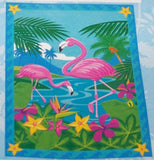 Colorful 2 Flamingos in Flowers Garden Flag 12 x 18 with Rope Hanger