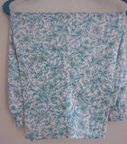 Woman's Capri Pants White Green and Peach Flowers Elastic Large Bon Worth