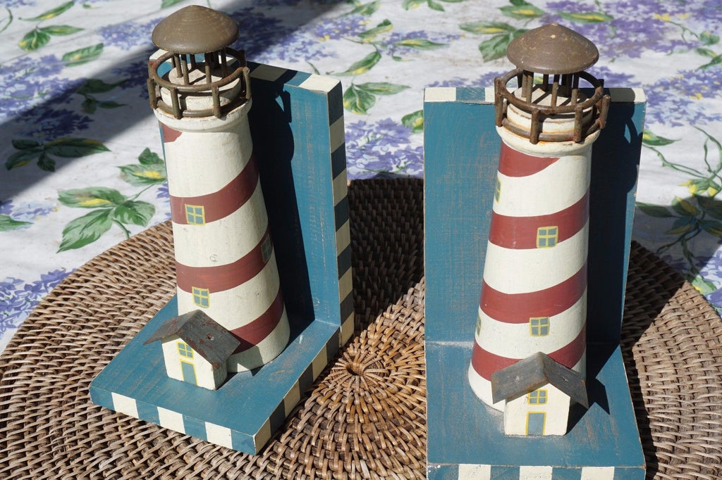 Lighthouse Bookends Solid Wood Nautical Decor Set of 2 in Great Used Condition