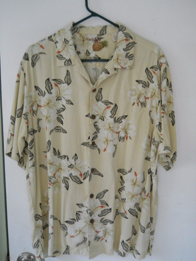 Hawaiian Flower Men's Short Sleeve Shirt Casual Large Silk & Rayon Free Shipping
