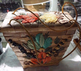 Vintage Woven Palm Frond Handbag Tote With Handwoven Flower Motif  Free Shipping