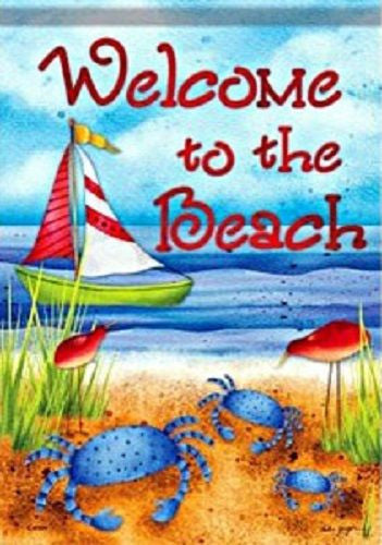 "Welcome to the Beach Crabs Colorful Garden Flag 28 x 40"" for Pole Double Sided"