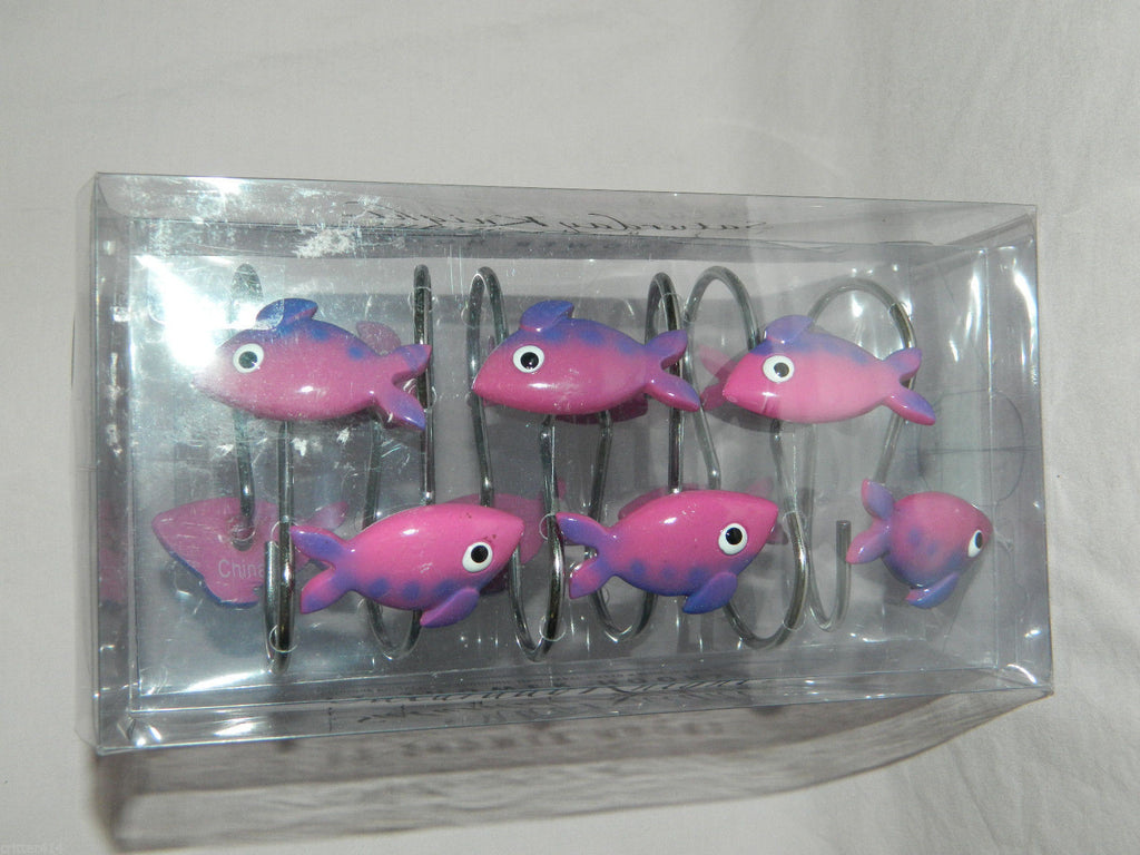 Pink & Purple Fish Shower Hooks * Unique * Colorful * 12Pk * New in the Box