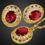 Necklace & Earrings Set Ruby Crystal Oval Cut Gold Plated Gift Free Shipping