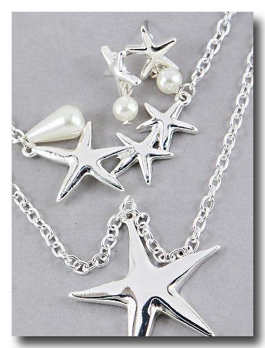 Starfish & Pearl Beach Necklace & Earring Gold / Silver