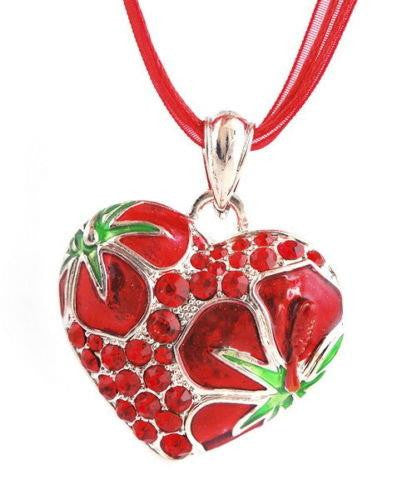 Sparkling Heart Pendants with Matcing Cloth Necklaces Endless Bling Comes Boxed