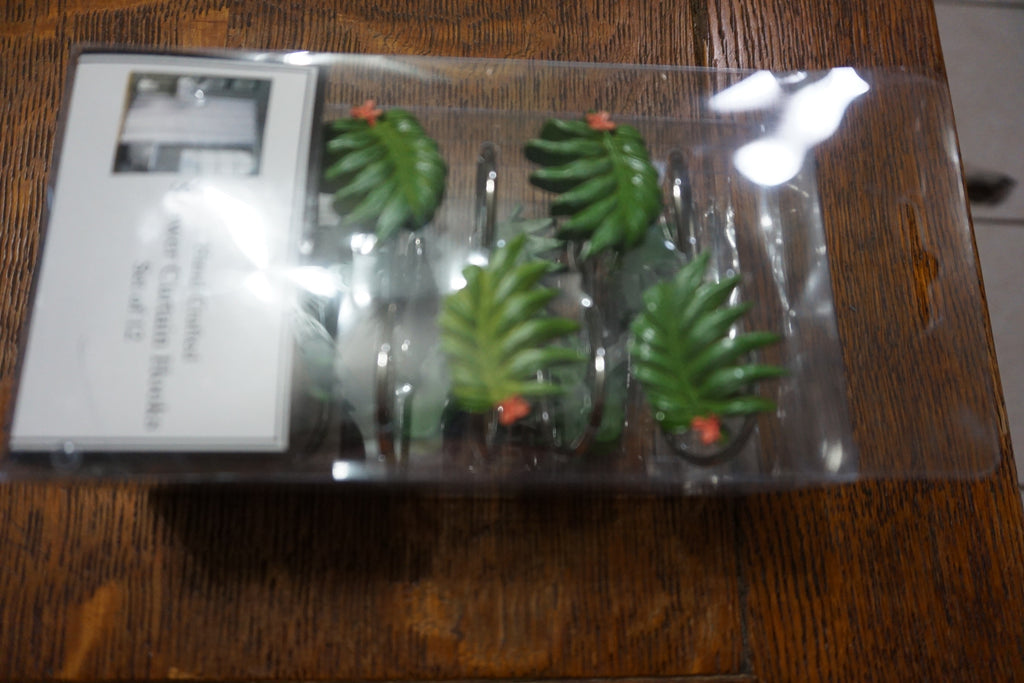 Pretty Fern 100% Resin Shower Curtain Hooks set of 12 Plazatex Free is Shipping