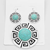 Geo Etching Rimmed Turquoise Pendant Set