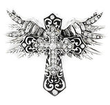 CRYSTAL ACCENT FILIGREE CROSS WITH WINGS PENDANT