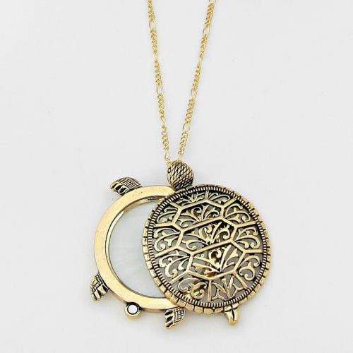 Gold Plated Turtle Necklace Magnifier for Appraisals