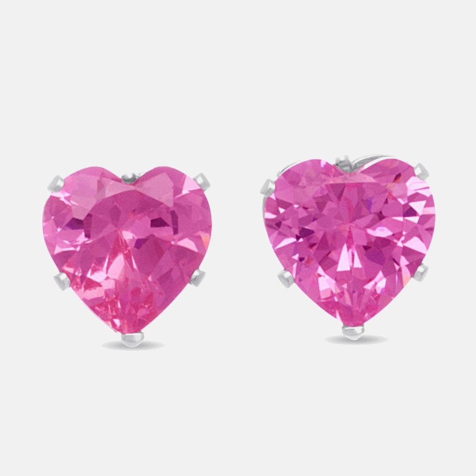 Silver Plated Pink Heart Earrings 4 Carat CZ's Gift Boxed