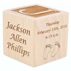 Personalized engraved wood baby birth block