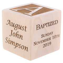 Personalized engraved wood baby baptism block