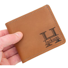 Made in the USA, Personalized Genuine Leather Wallet, Bi-Fold