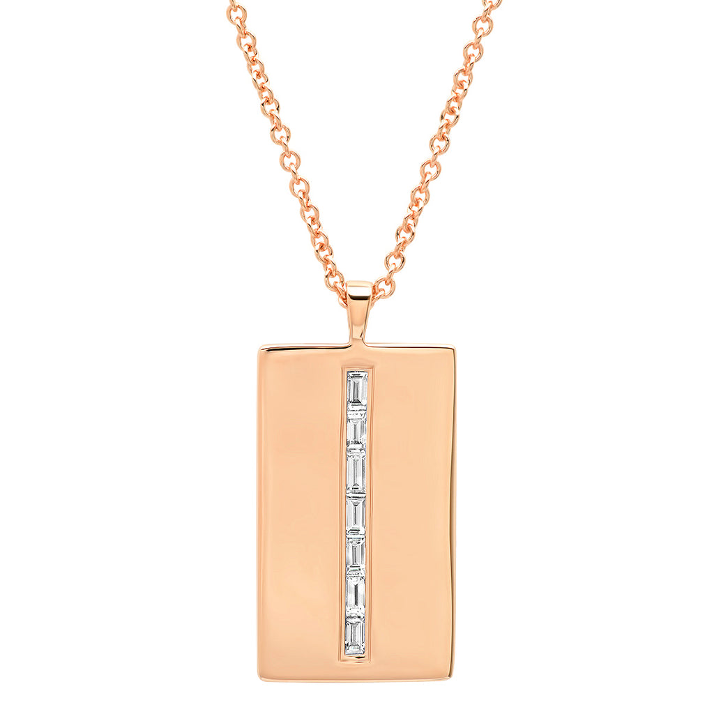 Diamond Baguette Dog Tag Necklace