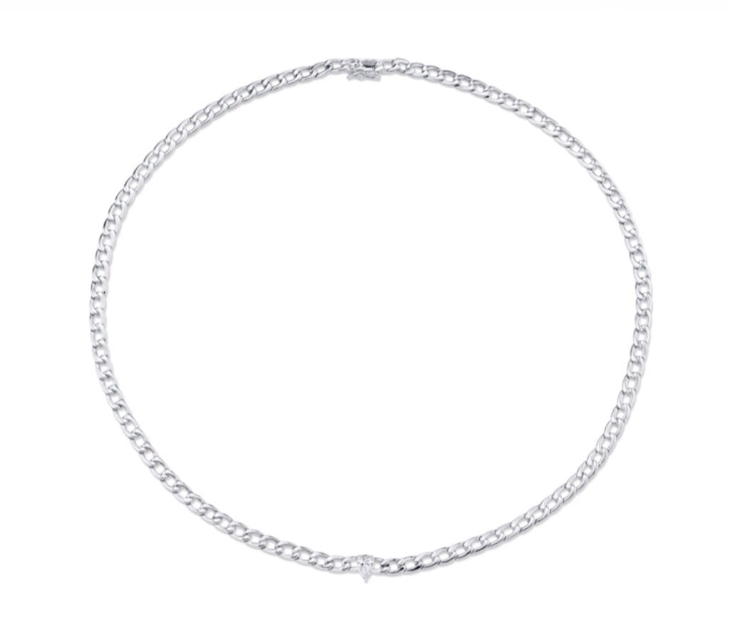 Plain Chain Necklace w/ Pear Diamond Center