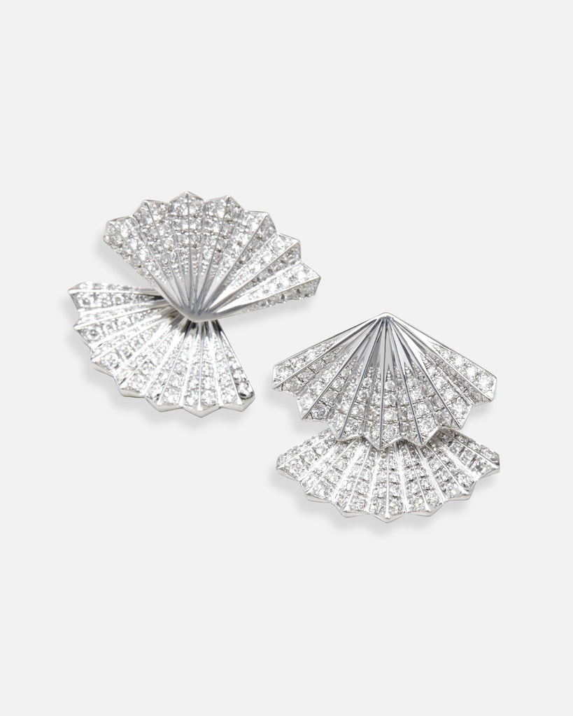Double Fan Diamond Earrings - White