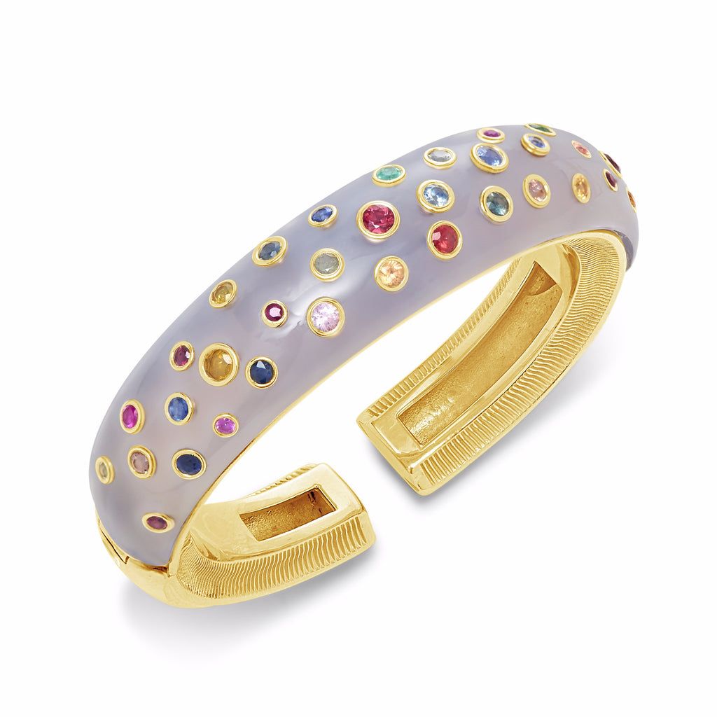 Mushroom Dome Cuff with Multi-Color Sapphires