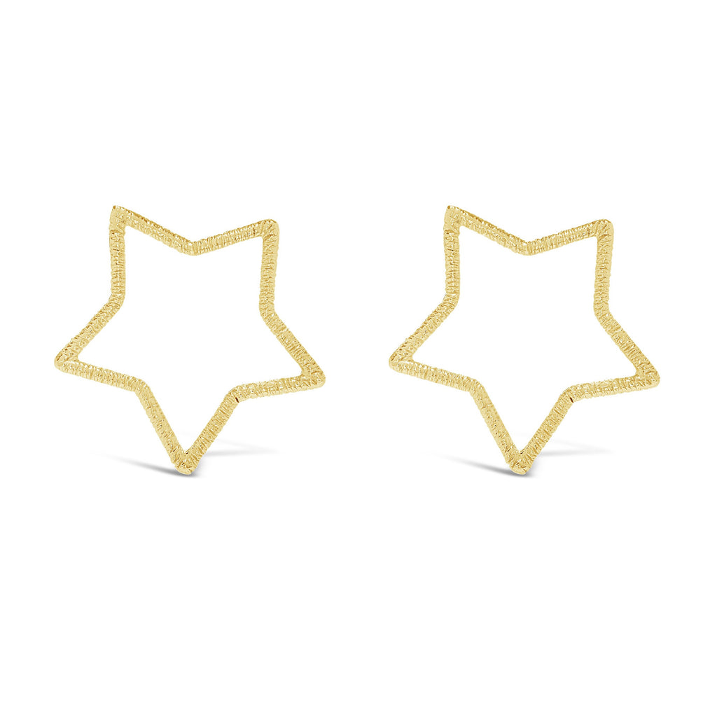 Large Front-Facing Textured Star Studs