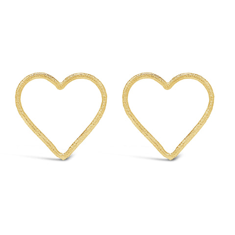 Large Front-Facing Textured Heart Studs