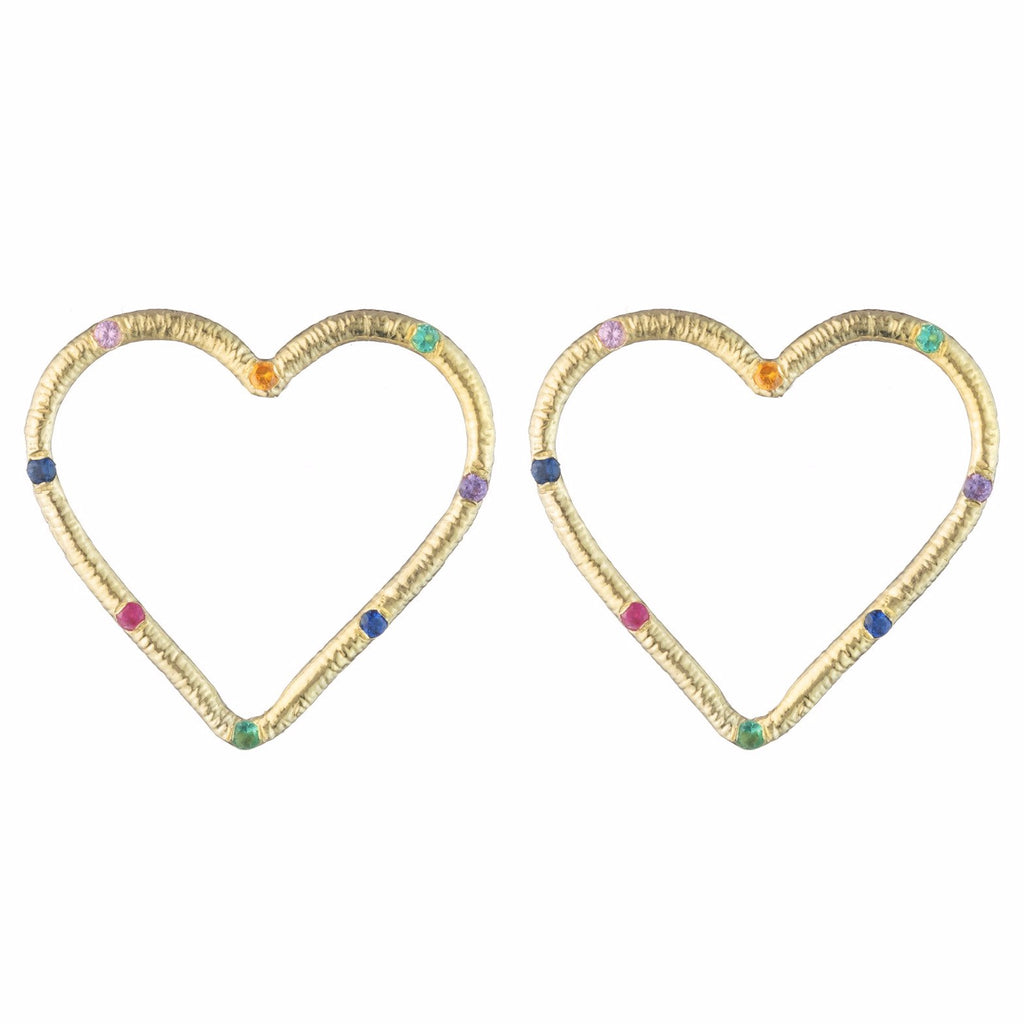 Large Front-Facing Textured Heart Stud Earrings with Stones
