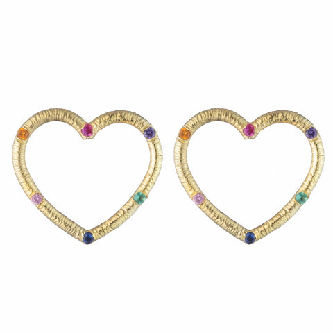 Medium Front-Facing Textured Heart Stud Earrings with Stones