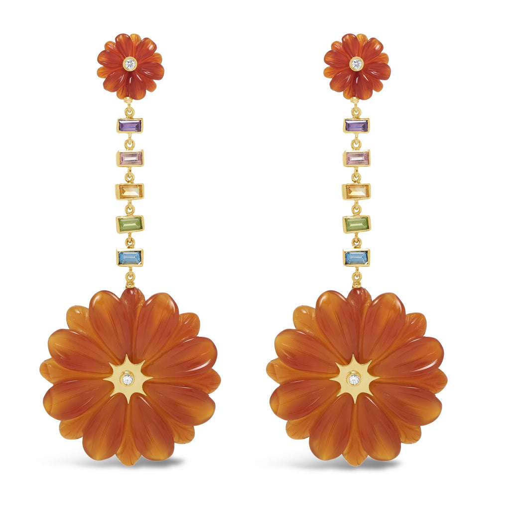 Large Double Wildlower Drop Earrings with Multi-Color Gems