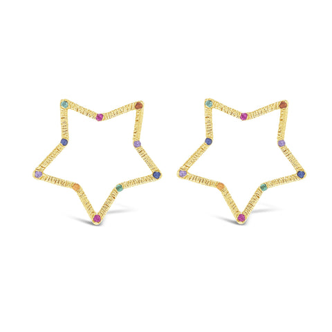 Large Front-Facing Textured Star Stud Earrings with Stones