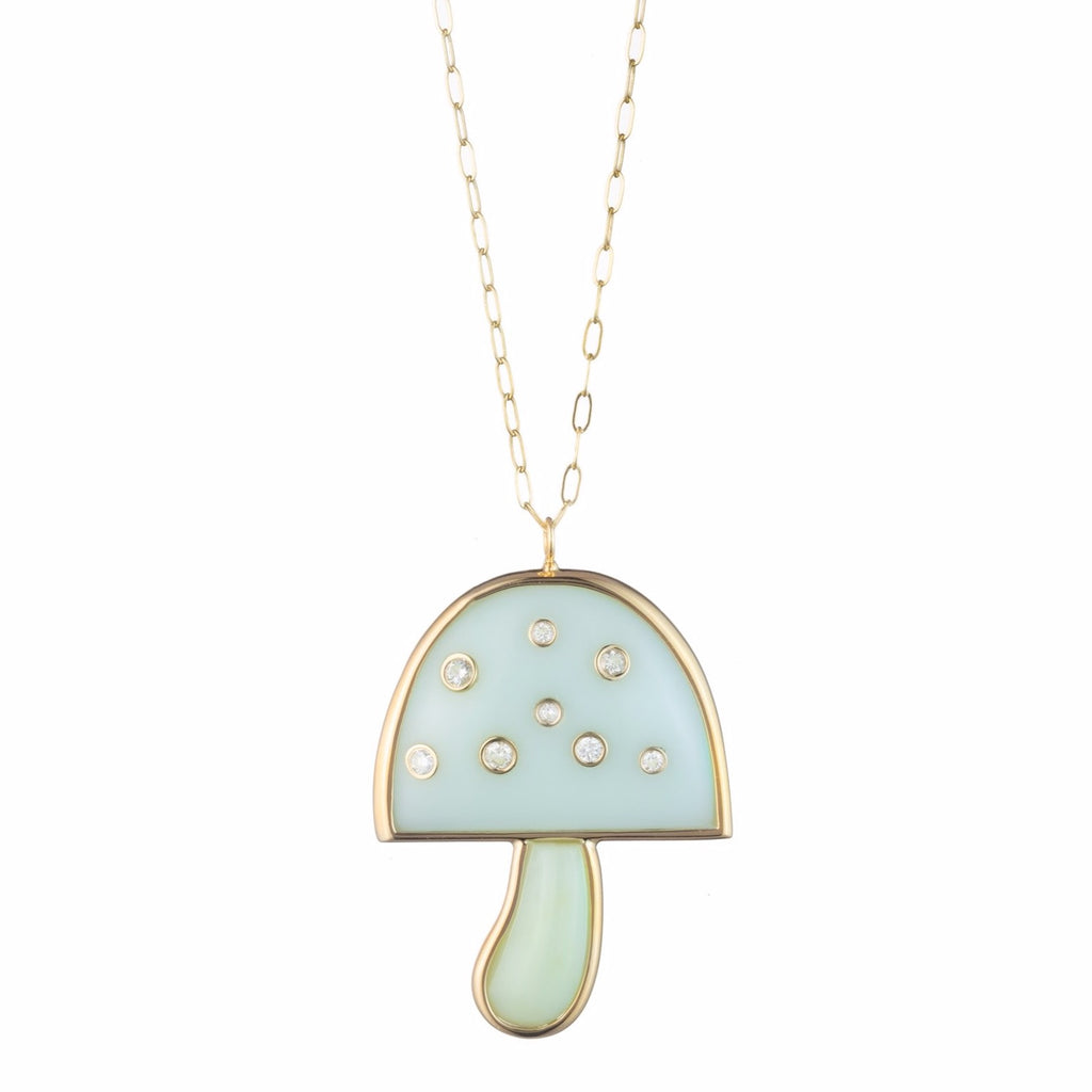"Diamond Magic Mushroom Pendant with 32"" Chain"