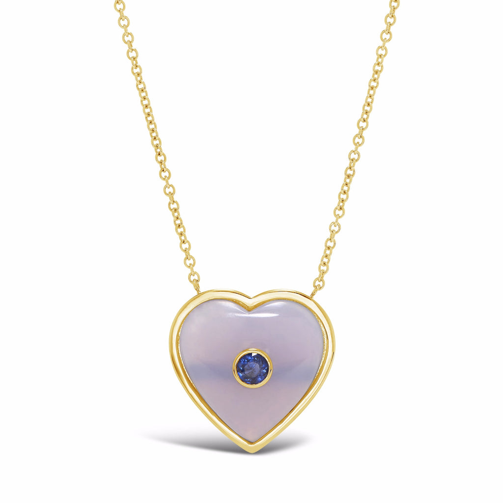 Large Gemstone Puff Heart Pendant with Inset Stone