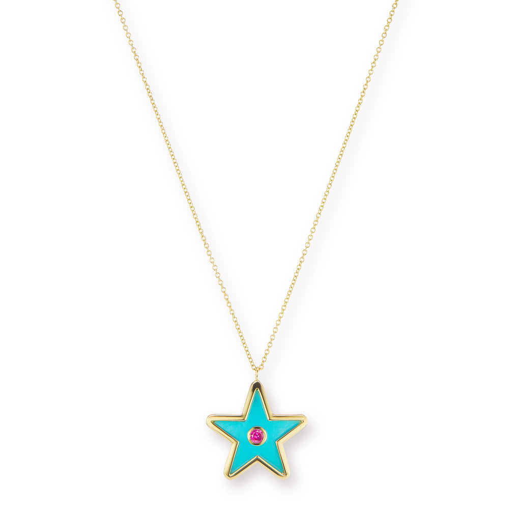Star Inlay Pendant with Sapphire Inset
