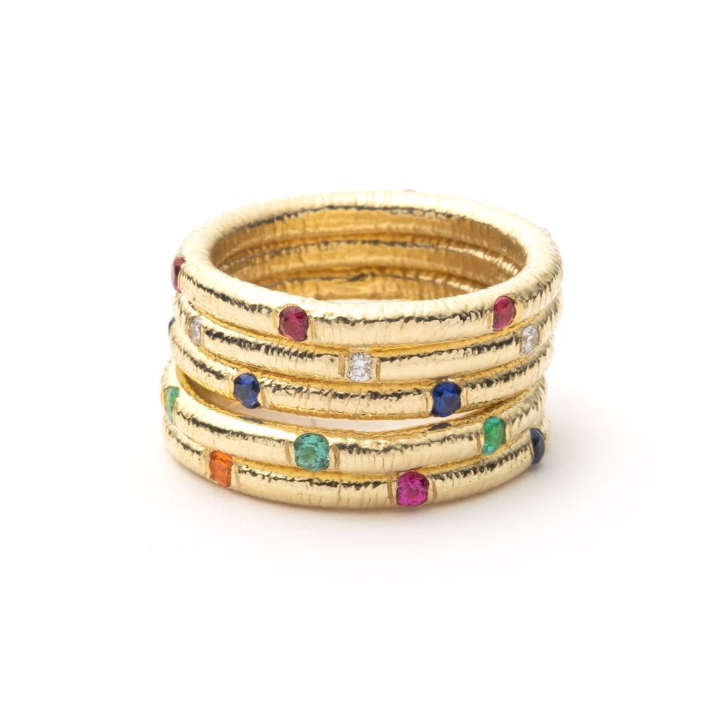 Textured Band with Gemstones