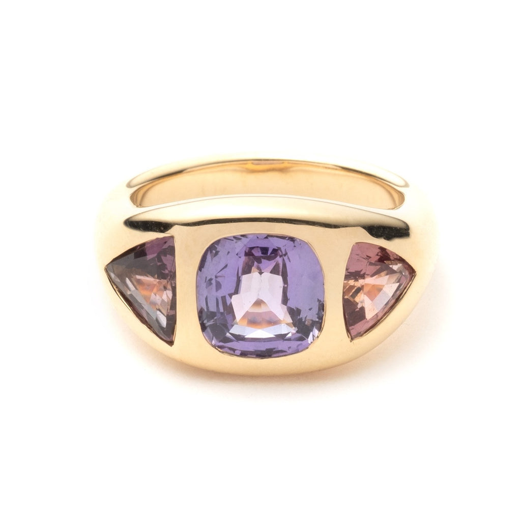 Purple Sapphire Gypsy Ring with Trillion Side Stones