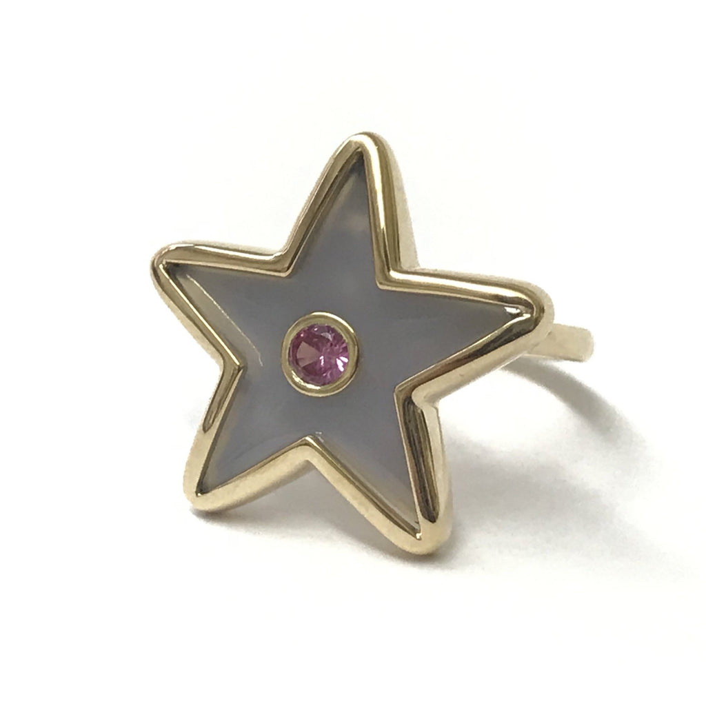 Star Inlay Ring with Sapphire
