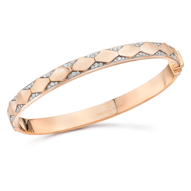 Quentin Diamond Hex Pattern Hinged Bangle