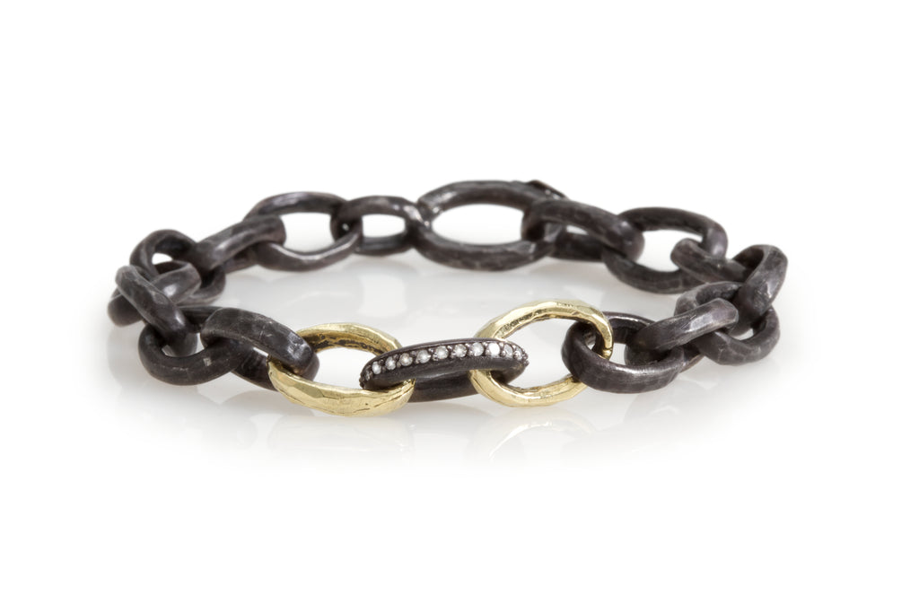 OXIDIZED SILVER HAMMERED BRACELET WITH 14K POLISHED YELLOW GOLD AND DIAMOND LINKS
