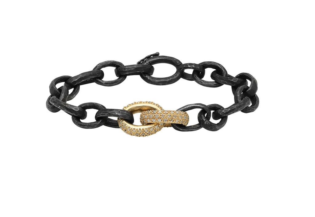 OXIDIZED SILVER HAMMERED BRACELET WITH DOUBLE 14K YELLOW GOLD AND DIAMOND LINKS