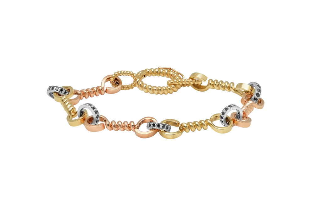 YELLOW + ROSE GOLD TWIST BAR LINK BRACELET WITH SILVER LINKS + BLACK DIAMONDS
