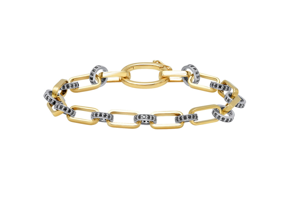 YELLOW GOLD OVAL BRACELET WITH SILVER LINKS + BLACK DIAMONDS